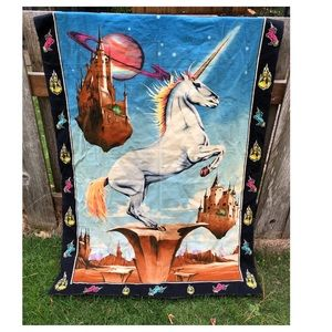 "VTG Wall Tapestry Unicorn in Far off land 51""x34"""